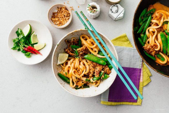 Weeknight Thai Curry Stir Fry Udon Noodles