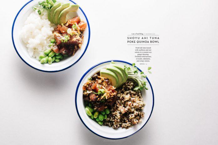 Ciotola di quinoa Poke di tonno Ahi