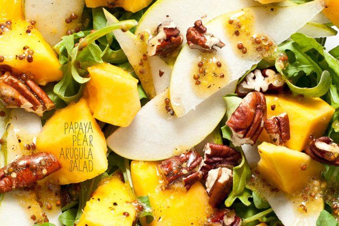 Ricetta insalata di rucola pera di papaia